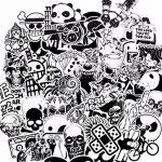 FEZZ 100pcs Graffiti Autocollants Mixte Aléatoire Noir Blanc Dessin Animé Étanche pour DIY Ordinateur Portable Macbook Voiture Moto Vélo Bagages Skateboard de la marque FEZZ image 1 produit