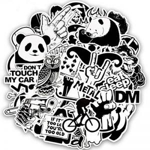 FEZZ 100pcs Graffiti Autocollants Mixte Aléatoire Noir Blanc Dessin Animé Étanche pour DIY Ordinateur Portable Macbook Voiture Moto Vélo Bagages Skateboard de la marque FEZZ image 0 produit
