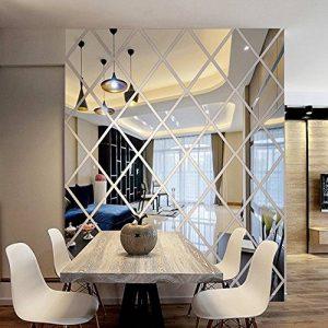 Fhuuly 2019 Nouveau Style de Décoration DIY 3D Stickers Miroir Autocollant Maison Salon Décoration (argent) de la marque Fhuuly image 0 produit