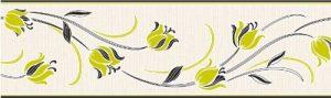 Fine Decor Frise murale autocollante Motif tulipes Vert citron/Noir 173 mm de la marque Fine-Decor image 0 produit