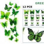 FiveRen 12 Pcs Autocollants Muraux 3D Papillons, Réfrigérateur Aimant Décor Décoration Artisanale Bricolage Artisanat Amovible pour Chambre de Bébé Salon TV salle de Séjour,Vert de la marque FiveRen image 1 produit