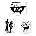 Foonii 3 PCS Autocollant Mural, Toilette/salle de bain/Baignoire Porte Autocollant Stickers Muraux, Créatif Imperméable Amovible Décorations Intérieure Stickers (noir) de la marque Foonii image 1 produit