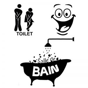 Foonii 3 PCS Autocollant Mural, Toilette/salle de bain/Baignoire Porte Autocollant Stickers Muraux, Créatif Imperméable Amovible Décorations Intérieure Stickers (noir) de la marque Foonii image 0 produit