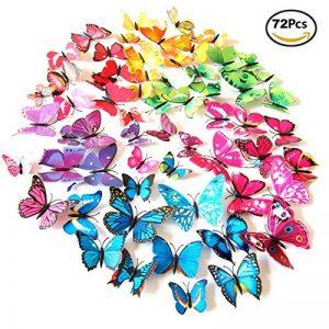 Foonii® 3D Papillons Papiers Décoration pour décoration de Maison et de Pièce, Stickers Muraux, 6 Couleurs, 72 Pièces (Rouge/Bleu/Jaune/Vert/Rose/Couleur) de la marque Foonii image 0 produit
