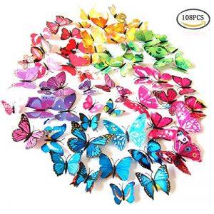 Foonii® 3D Papillons Papiers Décoration pour décoration de Maison et de Pièce, Stickers Muraux, 8 Couleurs, 108 Pièces (Rouge/Bleu/Jaune/Vert/Rose/Couleur/blanc/Réaliste/Violet) de la marque Foonii image 0 produit