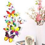 Foonii® 3D Papillons Papiers Décoration pour décoration de Maison et de Pièce, Stickers Muraux, 8 Couleurs, 108 Pièces (Rouge/Bleu/Jaune/Vert/Rose/Couleur/blanc/Réaliste/Violet) de la marque Foonii image 3 produit