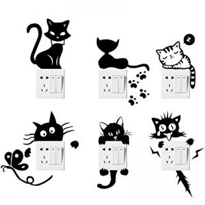 Foonii 6 PCS Interrupteurs Autocollant, Sticker Commutateur Résistant à L'eau Amovible, Noir PVC Switch Socket Décorations Stickers Muraux Art Mural Wall Sticker de la marque Foonii image 0 produit