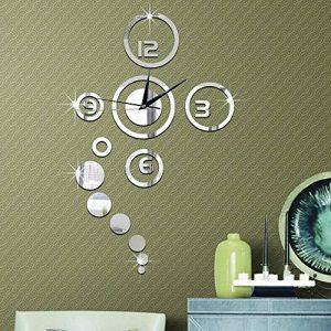 Forepin® Horloge Murale Design Vintage Silencieuse DIY Muraux Décoration Amovible Clock Sticker Autocollants Bricolage Miroir Moderne 3D Industrielle pour Salon Chambre Bureau Maison - Argenté de la marque forepin image 0 produit