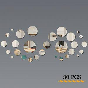 FRETOD Miroirs Muraux Rond 30PCS - 3D Miroir Autocollant Stickers avec Adhésif pour Chambre Salon Décoration d'intérieur de la marque FRETOD image 0 produit