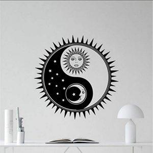 Ganjue Soleil Et Lune Yin Yang Sticker Soleil Étoiles Vinyle Autocollant Soleil Décoration Murale Art Mural Enfants Adolescent Fille Garçon Chambre Sticker Mural 50X50cm de la marque ganjue image 0 produit