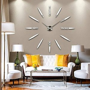 GEEDIAR 3D DIY Horloge Murale Amovible Pendules Murales Moderne Mur Loisirs Grosse Montre Décoration Stickers Effet Miroir Verre Acrylique Décoration de la marque GEEDIAR image 0 produit