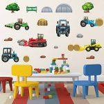 GET STICKING DÉCOR® Tracteurs & Diggers Stickers Muraux/ Autocollants Collection, TracHeavyFarm Trac.6, Vinyle Amovible Brillant, Multicolore. (Large) de la marque GET STICKING DÉCOR image 1 produit