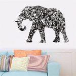 Gossipboy DIY Sticker Mural en Vinyle Noir–Mandala Motif éléphant Indien (83cm x 57cm)–inspiré Art Mural Autocollant Animaux Mural pour Salon Home Decor de la marque Gossip-Boy image 1 produit
