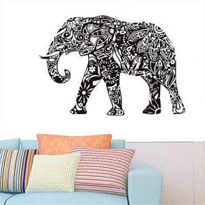 Gossipboy DIY Sticker Mural en Vinyle Noir–Mandala Motif éléphant Indien (83cm x 57cm)–inspiré Art Mural Autocollant Animaux Mural pour Salon Home Decor de la marque Gossip-Boy image 0 produit