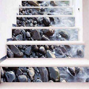 GPFDM 3D Pierres dans la rivière Autocollants pour escaliers Paysage naturel DIY Mural Auto-adhésif PVC Stickers muraux pour Salon, Plinthe de chambre à coucher, Couloir Décorations Durable , 1 Set 18 pcs , 100*18cm de la marque GPFDM Stickers image 0 produit