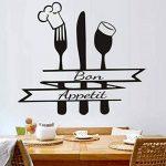 Grande Décoration De Cuisine À La Maison Français Bon Appetit Citation Sticker Mural Salon Cuisine Couverts En Vinyle Chef Chapeau Tenture Murale, Bon Appetit50X44Cm de la marque xlei image 1 produit