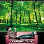 GREAT ART Affiche Arbres - Mur Decoration Paysage Naturel Pure Plante Fleur Foret relaxants avec trop de Soleil | Mur Deco Poster Mural Image by (140 x 100 cm) de la marque GREAT-ART image 3 produit