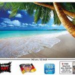 GREAT ART Affiche de décoration Murale des plages de rêve de Palm Beach des Caraïbes Un Paradis d'île Naturelle de Palmiers tropicaux et de Ciel Bleu | Mur Deco Poster Mural Image by (140 x 100 cm) de la marque GREAT-ART image 1 produit