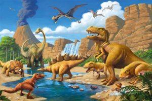 GREAT ART Affiche Dinosaure Murale Chambres Enfants Décoration Murs comiquel Aventure Dino Mondiale Style Jungle Cascade Dinosaurus | Mur Deco Poster Mural Image by (140 x 100 cm) de la marque GREAT-ART image 0 produit