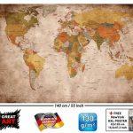 GREAT ART Carte du Monde Décoration Murale Vintageet Rétro (140 x 100 cm) de la marque GREAT-ART image 1 produit