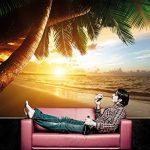 GREAT ART Papier Peint Qui Montre Une Plage de Sable avec Le Coucher du Soleil - Image Murale du Paradis avec des Palmiers et la mer - décoration Murale XXL Qui Montre Une Plage 140 cm x 100 cm de la marque GREAT-ART image 2 produit