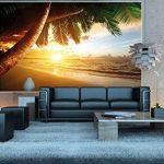 GREAT ART Papier Peint Qui Montre Une Plage de Sable avec Le Coucher du Soleil - Image Murale du Paradis avec des Palmiers et la mer - décoration Murale XXL Qui Montre Une Plage 140 cm x 100 cm de la marque GREAT-ART image 3 produit