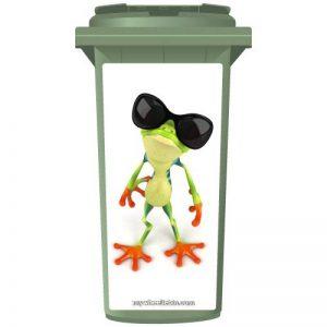 Groovy Vert grenouille portant nuances Poubelle à roulettes Sticker Panneau, Taille M de la marque MyWheelieBin image 0 produit