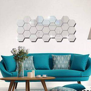 Gudotra 28pcs Autocollant Stickers Muraux Miroirs 3D Argent Hexagone Amovible pour Décoration d'Intérieur (Moyen: 8 x 7 x 5 cm) de la marque Gudotra image 0 produit