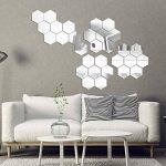Gudotra 28pcs Autocollant Stickers Muraux Miroirs 3D Argent Hexagone Amovible pour Décoration d'Intérieur (Moyen: 8 x 7 x 5 cm) de la marque Gudotra image 2 produit