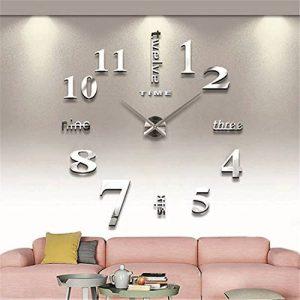 GUFAN 3D DIY Pendule Murale Moderne Métallique Horloge de Salon Décoration (argent) de la marque GUFAN image 0 produit