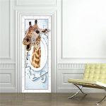 Gwell Papier Porte Sticker Trompe l'œil Auto-adhésif Imperméable Amovible PVC Autocollant pour Chambre Salle de Bains Girafe 2 de la marque GWELL image 2 produit