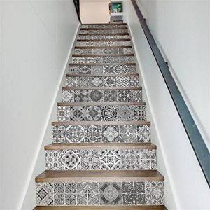 GWELL Stickers d'escalier Autocollant Sticker Carrelage Mural Auto-adhésif en PVC Étanche Décoration Chambre Noir Blanc (13 Pièces) de la marque GWELL image 0 produit