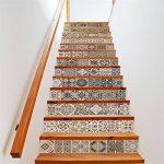 GWELL Stickers d'escalier Autocollant Sticker Carrelage Mural Auto-adhésif en PVC Étanche Décoration Chambre Noir Blanc (13 Pièces) de la marque GWELL image 1 produit