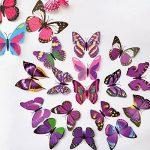 haimoburg 72pièces 6couleurs 3d stickers muraux stickers mural pour maison, chambre décoration Papillons 12pièces Bleu + 12pièces jaune + 12pièces vert + 12pièces rouge + 12pièces rouge pourpre + 12pièces Violet de la marque HaimoBurg image 2 produit