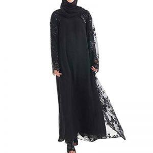 HLIYY Femmes Couleur Unie Robe Dentelle Musulman Islamique Kaftan Kimono Front Maxi Robe Sexy Mince Lady Lace Splice Manches Grand Châle Musulmanes Cardigan Robe Chic Outwear Longue Veste de la marque HLIYY-+Robe image 0 produit