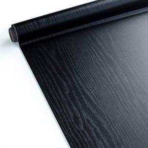 Homein Papier Peint Adhesif Noir Rouleaux Papier Adhesif en PVC Rénové pour Meubles Sticker Adhesif Effet Bois pour Comptoir, Titoir, Table Porte Bureau Armoir Taille 30 * 200cm de la marque Homein image 0 produit