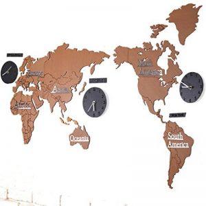 Horloge Murale Créative À La Mode Européenne 3D en Bois Carte du Monde Grand Salon Bureau Chambre Décorative Sticker Mural Horloge (Longueur 220 Cm * Hauteur 105 Cm),#4,A de la marque Benfa image 0 produit