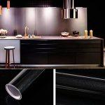 Humtool 5×0,61M Noir Papier Peint Autocollant Rouleau Adhésif Sticker Mural Etanche pour Armoire Cuisine Meuble Electroménager Carreaux Mur Verre en PVC de la marque Humtool image 2 produit