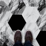 HyFanStr DIY Autocollant pour carrelage Sol imperméable Mur Autocollant Dosseret Stickers pour carrelage, Lot de 10 Black White Marble de la marque HyFanStr image 3 produit
