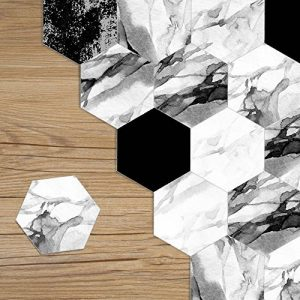 HyFanStr DIY Autocollant pour carrelage Sol imperméable Mur Autocollant Dosseret Stickers pour carrelage, Lot de 10 Black White Marble de la marque HyFanStr image 0 produit