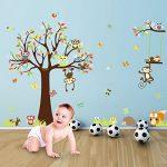 IDABAY Stickers Muraux Enfants Autocollant Mural Stickers Chambre Bébés Papier Peint Animation Colorés Décoration de Mur Garderie Arbre Hiboux Singes 234X150CM de la marque IDABAY image 3 produit