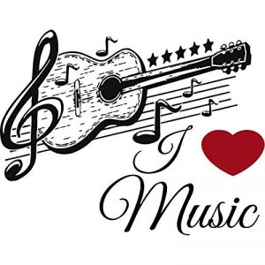 IncredibleWallDecals Stickers muraux Musique Autocollant Guitare en Vinyle Musical Motif Autocollant école Studio Home Decor Salle de Chambre à Coucher Notes Art Murals Us28 de la marque IncredibleWallDecals image 0 produit