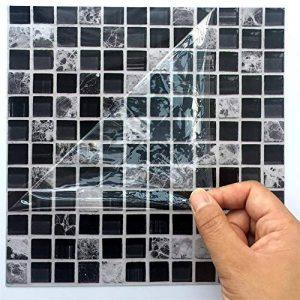 Ingeniously Autocollants en mosaïque, 10pcs / Set 3D Auto-adhésif imperméable à l'eau Noir marbre Autocollant de mosaïque en mosaïque Sticker Mural décoration pour la Salle de Bain Kitcheh de la marque Ingeniously image 0 produit