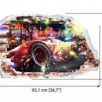 Interpaw Cars 3D Cartoon Smashed Stickers muraux pour Chambres garçons et Filles Sticker Mural Taille: Grand 93 cm X 57 cm de la marque Interpaw image 1 produit