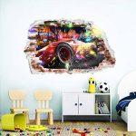 Interpaw Cars 3D Cartoon Smashed Stickers muraux pour Chambres garçons et Filles Sticker Mural Taille: Grand 93 cm X 57 cm de la marque Interpaw image 2 produit
