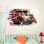 Interpaw Cars 3D Cartoon Smashed Stickers muraux pour Chambres garçons et Filles Sticker Mural Taille: Grand 93 cm X 57 cm de la marque Interpaw image 4 produit