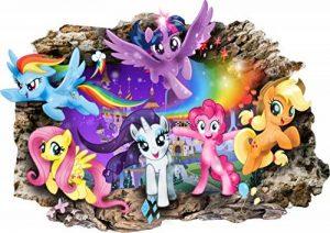 Interpaw My Little Pony Cartoon 3D Smashed Wall Stickers pour Chambres garçons et Filles Sticker Mural Taille Grand 80 cm X 57 cm de la marque Interpaw image 0 produit