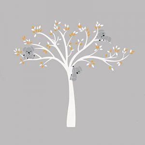 iShine Sticker Muraux Arbre Blanc Feuille Jaune Koala Dessin Animé Autocollant de Mur Adhésif Mural Décor pour Garderie Chambre Bébé Fille Garçon Enfant Salon Gris de la marque iShine image 0 produit