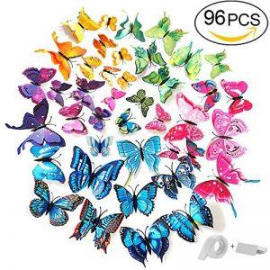 ivencase 96Pcs Stickers Muraux Papillons (Tailles Différentes) pour décoration de Maison, de Pièce, Réfrigérateur et Meuble, 3D Papillons Papiers Décoration,Amovible Réutilisable de la marque ivencase image 0 produit
