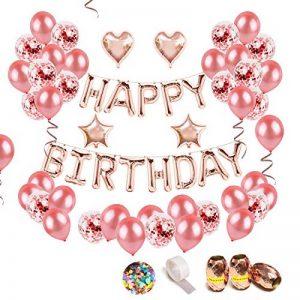 iZoeL Anniversaire Ballon Rose Kit Guirlande Happy Birthday Ballon, 15 Ballons Confettis Rose Or, 36 Latex Ballon Rose Or, 4 Ballons Chiffre étoile et Coeur de la marque iZoeL image 0 produit